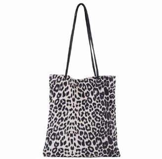 Ro Rox Leopard Animal Print Tote Beach Shopping Shoulder Bag For Life Shopper - White Leopard