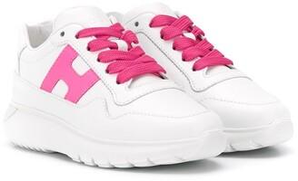 Hogan Logo Embroidered Chunky Heel Sneakers