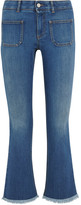 Stella McCartney Cropped Frayed Mid-rise Flared Jeans - Mid denim