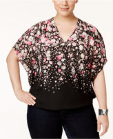 INC International Concepts Plus Size Floral-Print Surplice Top, Only at Macy's