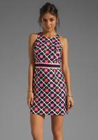 Milly Anna Tile Print on Silk Linen Sheath Dress in Shocking Pink