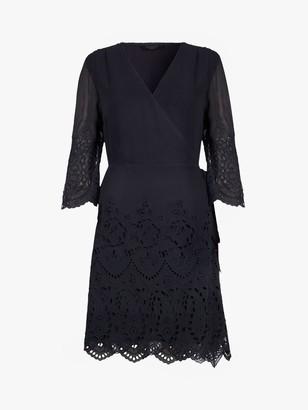 AllSaints Zariah Long Sleeve Floral Lace Mini Dress, Blue