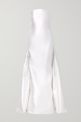 Gabriela Hearst Joaquina Pleated Silk And Wool-blend Satin-twill Gown - Ivory