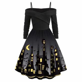 Beautifop Halloween Dress Women Plus Size Sexy Casual Elegant Off Shoulder Sleeveless Print Evening Party Dress Grey
