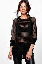 Boohoo Abigail Striped Mesh Sweatshirt