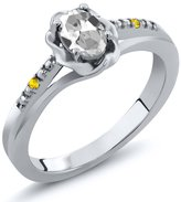 Gem Stone King 0.52 Ct Oval White Topaz Yellow Sapphire 14K White Gold Ring