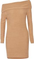 Halston Off-the-shoulder metallic cashmere-blend mini dress
