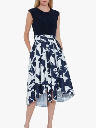 Gina Bacconi Gizela Floral Asymmetric Hem Dress, Navy/White