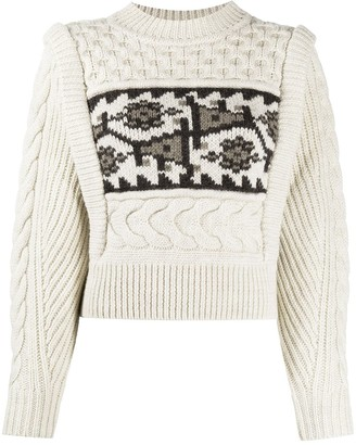 Etoile Isabel Marant Cropped Intarsia Cable Knit Jumper