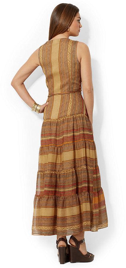 Lauren Ralph Lauren Sleeveless Striped Belted Dress