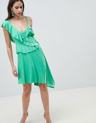 Asos Design DESIGN asymmetric ruffle soft midi dress-Green