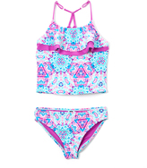 Vigoss Purple Ziggy Ladder-Back Tankini - Girls