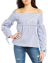 WAYF Libby Smocked Off-the-Shoulder Tie Sleeve Checkered Blouse