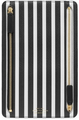Smythson Panama Striped Leather Currency Case