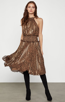 BCBGMAXAZRIA Smocked Leopard Dress