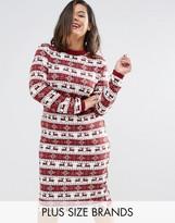 Club L Plus Fairisle Long Sleeve Ribbed Christmas Dress