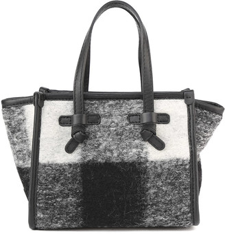 Gianni Chiarini Black And White Marcella Small Bag In Check Print Boiled Wool
