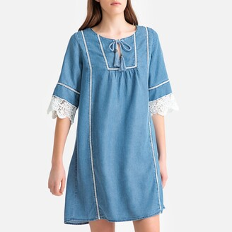 Kaporal Embroidered Trim Shift Dress with Tie-Neck