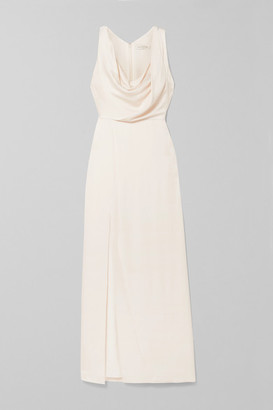 Halston Draped Hammered-satin Gown - White
