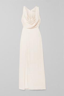 Halston Draped Hammered-satin Gown - White