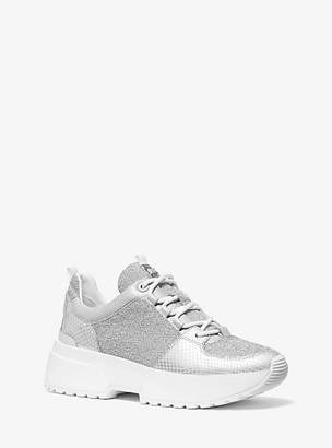 Michael Kors Cosmo Metallic Knit And Snake-Embossed Leather Trainer