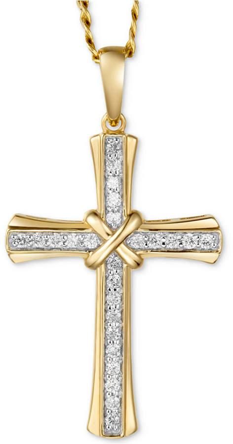"Macy's Men's Diamond Cross 22"" Pendant Necklace (1/4 ct. t.w.) in 10k Gold"