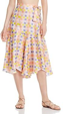 Paper London Foxglove Printed Silk Skirt