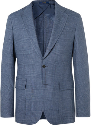 Polo Ralph Lauren Navy Prince Of Wales Checked Linen And Wool-Blend Blazer