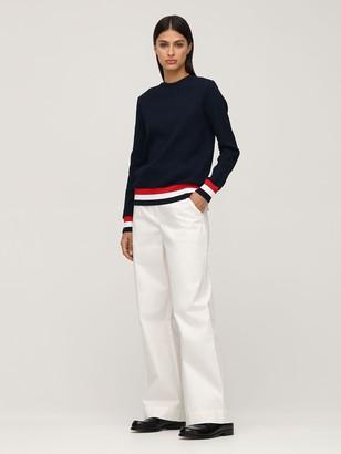 Thom Browne Cotton Knit Sweater W/Stripe Detail