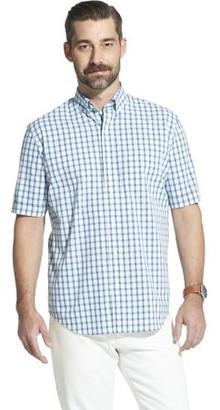 Arrow Men's Big and Tall Hamilton Poplin Plaid Short Sleeve Button Down Shirt