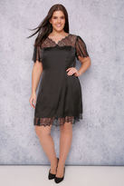 Yours Clothing SCARLETT & JO Black Silky Dress With Lace Top & Trim