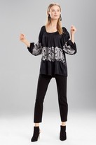 Josie Natori Stretch Silk Peasant Blouse