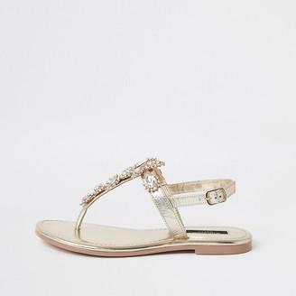River Island Gold embellished wide fit toe thong sandals