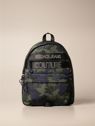 Versace Jeans Couture Backpack In Camouflage Nylon With Logo