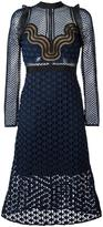 Self-Portrait cut-out sheer flared dress - women - Polyester - 6