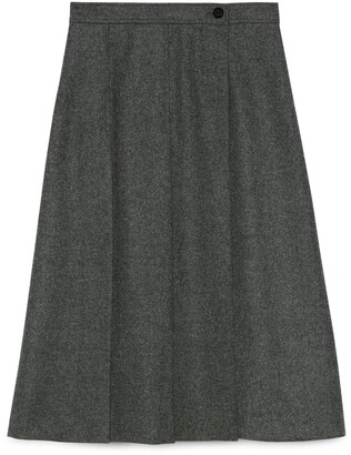 Gucci Pleated wool flannel skirt