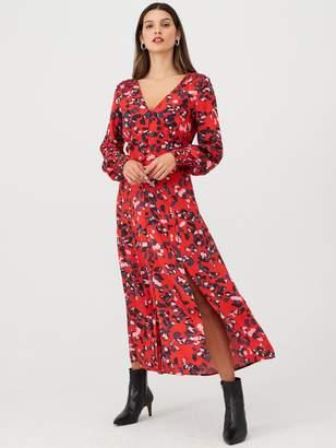 Very Button Through V Midi Dress - Print