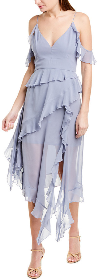 Nicholas Cold-Shoulder Silk Midi Dress