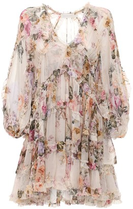 Zimmermann Brighton Tiered Silk Chiffon Mini Dress