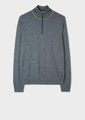 Men's Grey Merino Wool Zip-Neck Sweater