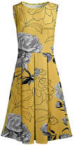 Lily Women's Casual Dresses YLW - Yellow & Gray Rose Pleated Fit & Flare Dress - Women & Plus