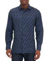 Robert Graham Linen Wave-Print Sport Shirt, Navy