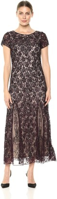 Pisarro Nights Women's Long Dress with Cap Sleeve and LACE Motif