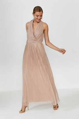 Coast Pleat Mesh Skirt Maxi Dress