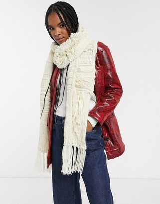 Topshop knitted scarf with tassels in cream