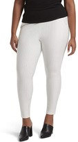Hue Plus Size No Waistband High-Waist Skimmer (Bright White Pinstripe) Women's Casual Pants