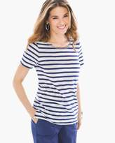 Chico's Embellished-Neck Striped Top