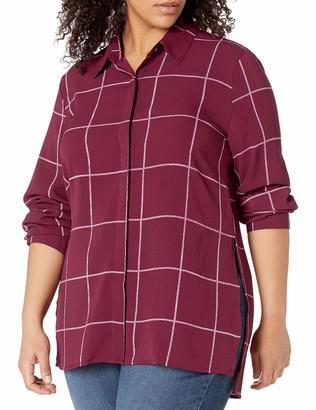 Blu Pepper Women's Plus Size Check Patterned Long Sleeve Shirt