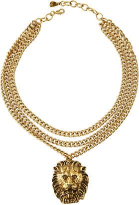Yochi Lion Head Multi-Chain Necklace