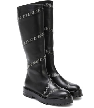Alaia Studded leather knee-high boots